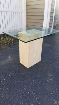 Marble End Table with Glass Top!