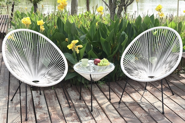 Strange Modern Wicker Patio Chairs Set Of 2 Table White Black Or Teal Available Gmtry Best Dining Table And Chair Ideas Images Gmtryco