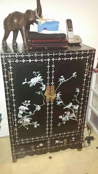 Used Black And White Wooden Cabinet With Drawer For Sale