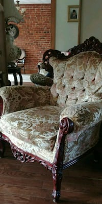 brown and white floral padded armchair Washington