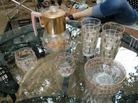 beige glass bowls and drinking glasses lot