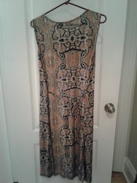 women's brown and black floral dress