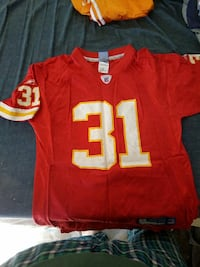 red and white NFL 31 jersey shirt