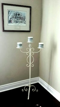 White metal candleabra with three candles Lincoln