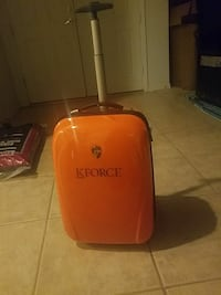 red and black Kforce travel luggage bag