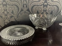 Vintage Set (2) of Cut Glass Serving Dishes - plate and bowl Portland, 97210