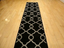 Black Hallway Runner Rug 2X8 Carpet