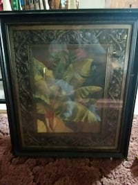 brown wooden framed painting of flowers Glade Hill, 24092