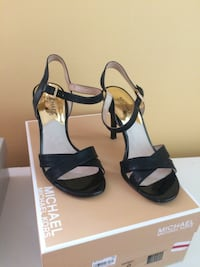 pair of black open-toe ankle strap heels Baltimore, 21210