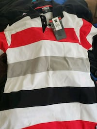 white, red, and black striped polo shirt Winchester, 22602