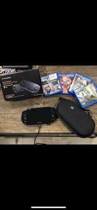 Black sony ps4 console with controller and game cases Riverside, 92503