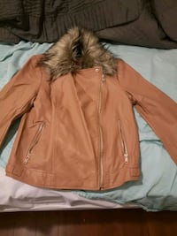 Brown leather jacket. Vancouver, V6A 3K9