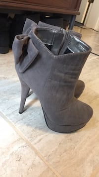 Pair of gray suede heeled booties Vancouver