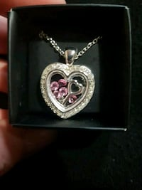 silver and pink heart pendant necklace Maple Ridge