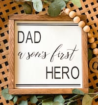 Fathers day sign signs for the home | home decor wood frame sign