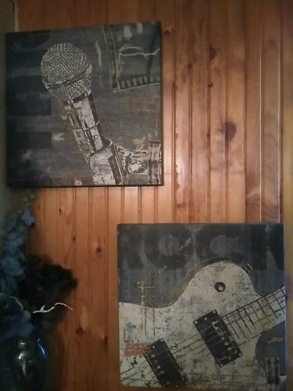 Set of two Music theme canvas paintings