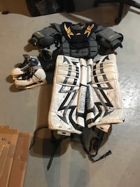 """Goalie equipment. Pads are 28"""" and only were used for a season. Pain over $600 for the pads and paid $200 for the skates. So you are getting a great deal"""