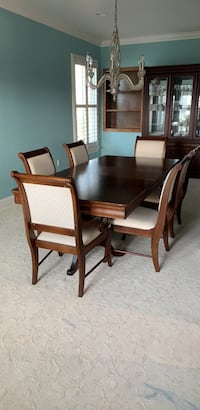 brown wooden dining table with chairs Linden, 95236