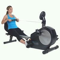 black and blue stationary bike