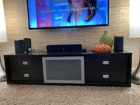 Baxton Studio Bottecille Brown Modern TV Stand with Frosted Glass Door Rockville, 20850