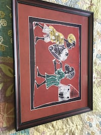 Nigerian wall art on cloth with wall mounting hardware on back Airdrie, T4B 0P3