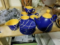 blue and yellow ceramic tea set Montréal, H1Z 1H3