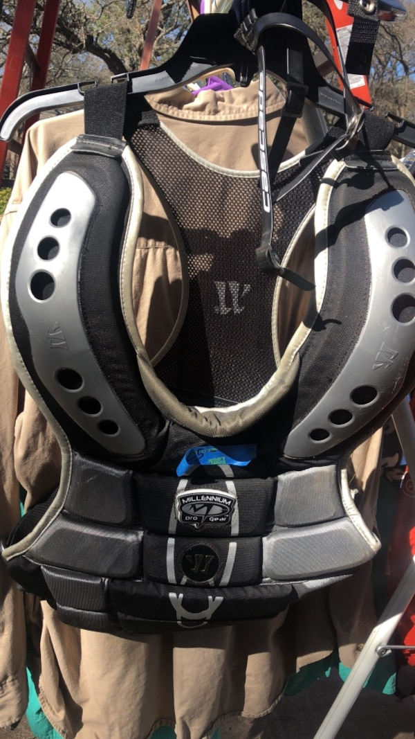 18f953e64e0 Used Warrior lacrosse goalie chest pad with STX neck protector and cascade  chinstrap for sale in Austin