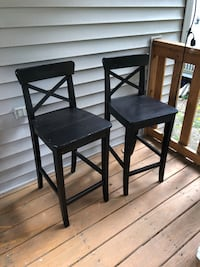 """(2 of 2) IKEA: INGOLF Bar stool with backrest, brown-black, 24 3/4 """""""
