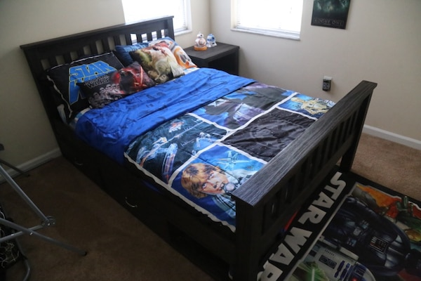 Used Full size dark wood bed set with mattress for sale in