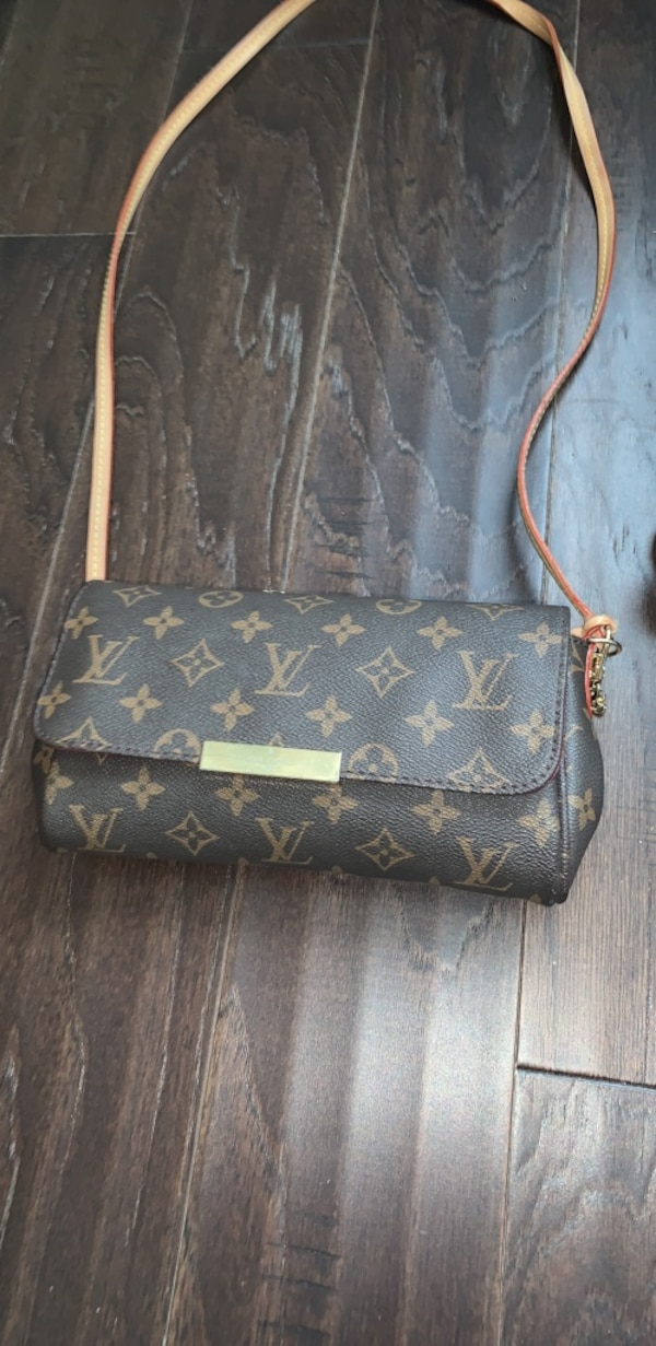 Brown louis vuitton monogram leather crossbody bag