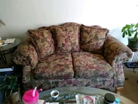 red and beige floral fabric loveseat and sofa obo Albuquerque, 87110