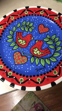 Blue, red, and green bubany lovebird decorative plate Maple Plain, 55359