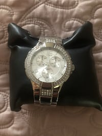Round silver chronograph watch with link bracelet Tyler, 75708