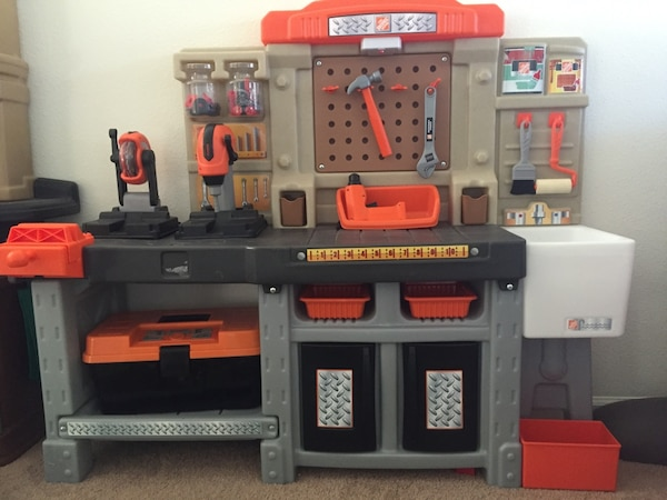 used step 2 home depot tool bench w/home depot talking tool box for ...