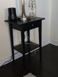 2 Black Brown wooden single drawer side table Brampton