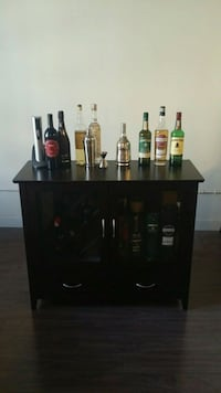Wine Bar and Liquor Cabinet - Dark Brown Wood Los Angeles, 90014