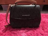 Black/ Brown Michael Kors leather  bag Phelan, 92371