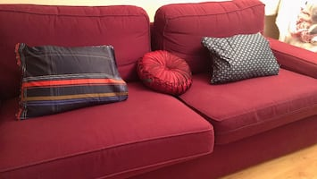 Burgundy couch -pickup only! 85 x 37 length