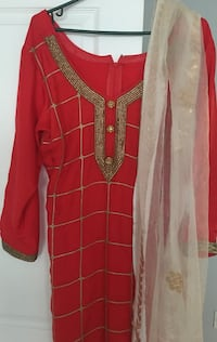 Red and gold Straight cut suit with Red pajamas