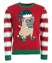 Ugly Christmas Sweater Women's Elf Pug, Cayenne, Small- Can fit Medium Richmond Hill, L4B 4T9