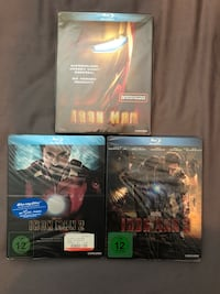 Iron Man 1, 2 and 3 Blu-Ray Steelbooks.  Laval, H7W 5C1