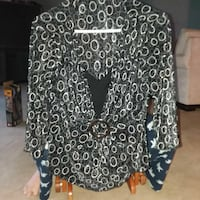 black and white long-sleeved blouse