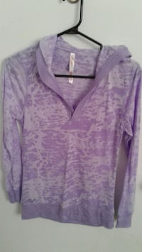 purple and gray pullover hoodie