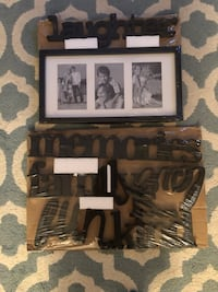 "Black 6 plastic letters set with ""5x7""frame to match Memories,Family is...,Fun,Kind,Love,Laughter Ashburn, 20147"
