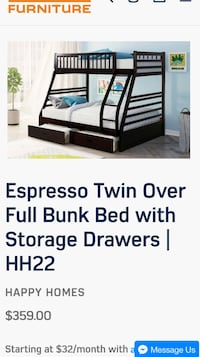 Twin over full bunk bed Houston