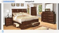 brown wooden 4-piece bedroom set