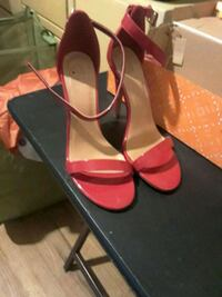 pair of red leather open-toe ankle strap heels Los Angeles, 90032