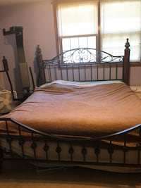 brown wooden bed frame and white mattress Germantown Hills, 61548