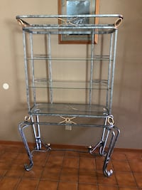 250.00/best offer for Matching gray metal and glass Dining table,hutch, 4 chairs