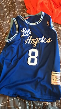 blue and white Los Angeles Lakers Kobe Bryant 8 basketball jersey 6f4a6c8c9